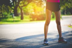 Jogging with sports shoes on holiday For health and beauty. And fat reduction. royalty free stock photos