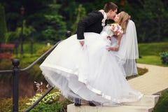 Prepare la pierna de la novia de los controles mientras que la besa en un parque imágenes de archivo libres de regalías