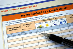 Prepare and maintain the patient medication log Stock Photos