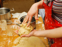 Prepare meal food. modelling dough in hands Royalty Free Stock Photos