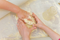 Prepare meal food. modelling dough in a hands Royalty Free Stock Photos