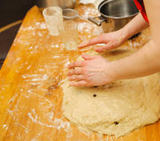 Prepare meal food. modelling dough in a table Stock Photos