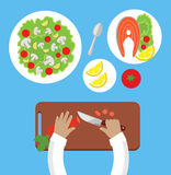 Prepare a Meal Top View Design Flat. Human hands with a knife cutting carrots on a wooden board for a salad. Bowl of salad with mushrooms and tasty dish of Royalty Free Stock Image