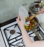 Prepare mexican chicekn. Royalty Free Stock Images