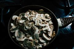 Cooking Mushrooms: Champignons royalty free stock images