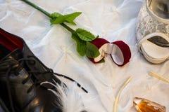 Prepare o ` s e as sapatas do casamento do ` s da noiva Imagem de Stock Royalty Free