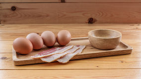 Prepare Omelete Souffle. Omelete Souffle recipe on wooden table royalty free stock images