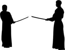 Prepare para lutar, kendo - silhueta Fotografia de Stock Royalty Free