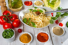Prepare pasta for dinner stock photo