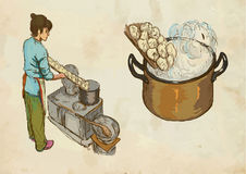Prepare pasta, hand drawn and colored vector Stock Photography