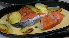 Prepare a salmon dinner with sauce stock footage