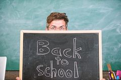 Prepare school year. Are you ready study. Teacher or school principal welcomes inscription back to school. Teacher