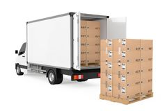 Prepare Shipping Concept. White Commercial Industrial Cargo Deli. Very Van Truck near Stack of Cardboard Boxes on Pallete on a white background. 3d Rendering Royalty Free Stock Photography