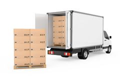 Prepare Shipping Concept. White Commercial Industrial Cargo Deli. Very Van Truck near Stack of Cardboard Boxes on Pallete on a white background. 3d Rendering Stock Images