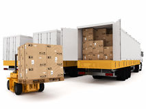 Prepare shipping. Loading stack of packed boxes on truck Stock Images