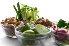 Prepare spicy minced pork salad Royalty Free Stock Photos