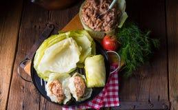 Prepare the stuffed cabbage rolls Stock Photo