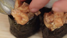 Prepare sushi hand stock footage