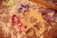Prepare tasty cookies. family concept. Prepare tasty cookies ,Gingerbread man , heart and star Stock Photo