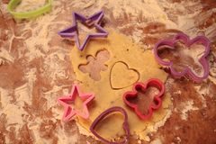 Prepare tasty cookies. family concept. Prepare tasty cookies ,Gingerbread man , heart and star Stock Image