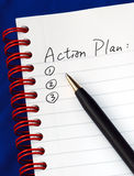 Prepare The Action Plan In A Writing Pad Royalty Free Stock Photos