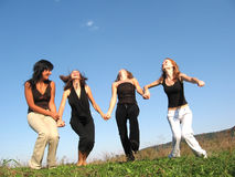 Prepare to jump. Group girl friends preparing to jump Royalty Free Stock Photos