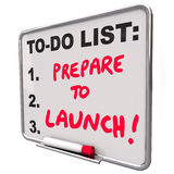 Prepare To Launch Dry Erase Board To Do List New Company Busines Stock Images