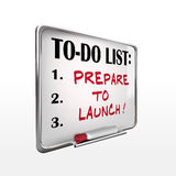 Prepare to launch on to-do list whiteboard Stock Photo