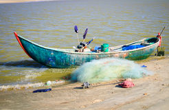 Prepare for the trip out to sea, old woven bamboo fishing boat Stock Image