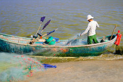 Prepare for the trip out to sea, old woven bamboo fishing boat. Vung Tau, Vietnam Stock Image
