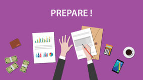 Prepare white text illustration with a man writing on paperworks and money, calculator and folder document on top of Royalty Free Stock Photo