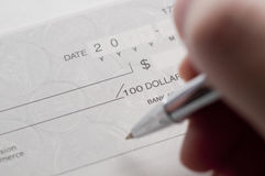 Prepare writing a check Stock Photos