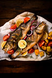Prepared bass fish Royalty Free Stock Images