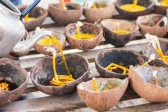 Prepared candle and old coconut shell for Loy kratong festival i Royalty Free Stock Photos