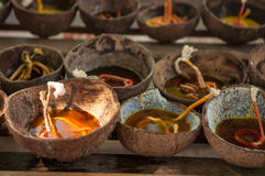 Prepared candle and old coconut shell for Loy kratong festival i Stock Photo