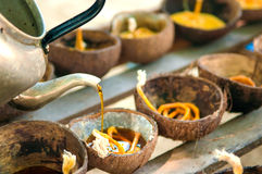 Prepared candle and old coconut shell for Loy kratong festival Royalty Free Stock Photos
