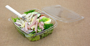 Prepared Chef Salad With Fork On Burlap Angle View Royalty Free Stock Photo