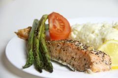 Prepared, cooked, fried, baked salmon fish steaks. stock photos