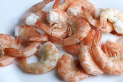 Prepared, cooked, fried tiger prawns royalty free stock images
