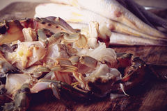 Prepared crab and fish Royalty Free Stock Images