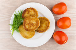 Prepared cutlets in plate with dill and tomatoes Royalty Free Stock Images