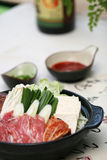 Prepared and delicious japanese chafing. Dish taken in studio Royalty Free Stock Photos