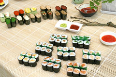 Prepared and delicious sushi. Prepared and delicious japanese sushi Royalty Free Stock Image
