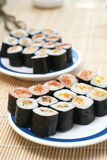 Prepared and delicious sushi taken in studio. Prepared and delicious japanese sushi taken in studio Stock Photos