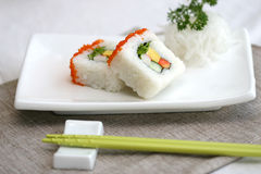 Prepared and delicious sushi taken in studio. Prepared and delicious japanese sushi taken in studio Stock Images