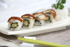 Prepared and delicious sushi taken in studio. Prepared and delicious japanese sushi taken in studio Royalty Free Stock Photography