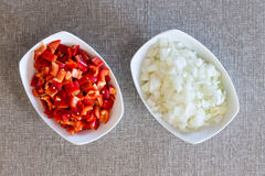 Prepared diced fresh onions and tomato Stock Image