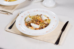 Prepared Dish at Place Setting on Restaurant Table Stock Image