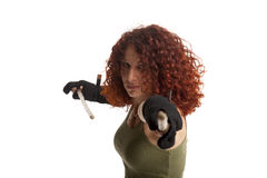 Prepared for fight. Woman with a fighting stick royalty free stock image