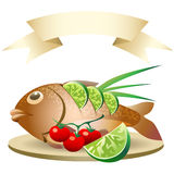 Prepared fish. A  illustration of prepared fish with empty banner Royalty Free Stock Photography